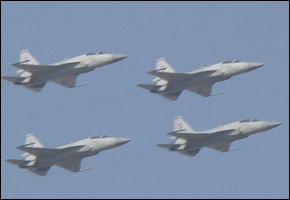 Four JF-17 Thunder aircrafts over Islamabad.