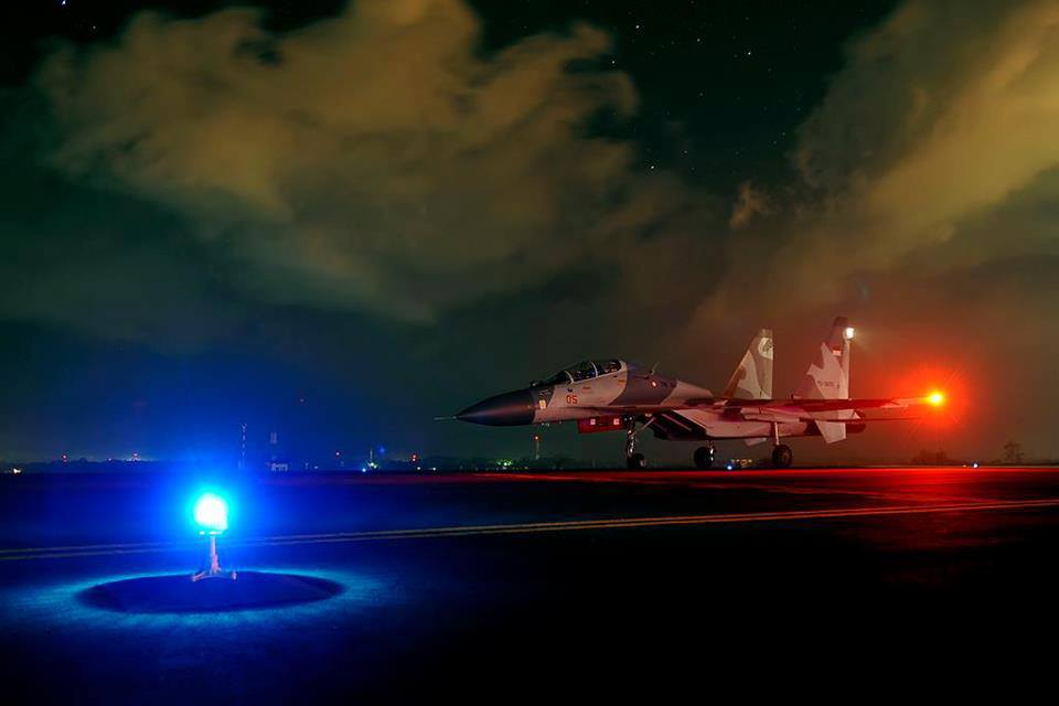 A Sukhoi combat jet belongs to the 11th Squadron of Makassar ready to conduct night flight, Ma...jpg