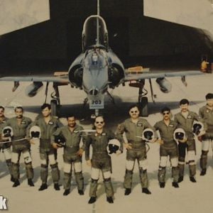 Officers of No5 Falcons Squardonwith their OC Wg Cdr Khalid Hifazat-1990