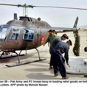 FC Jet-Ranger on Quetta earthquake relief mission
